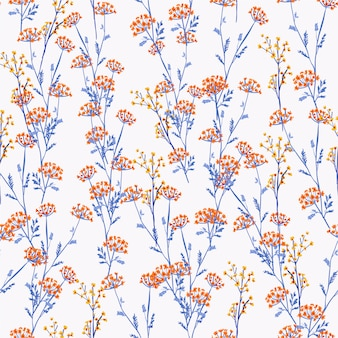 Beautiful and trendy seamless pattern orange and yellow meadow flowers, isolated on light grey colour.
