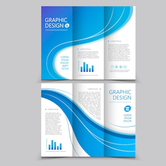 Beautiful tri-fold brochure template design with wave elements