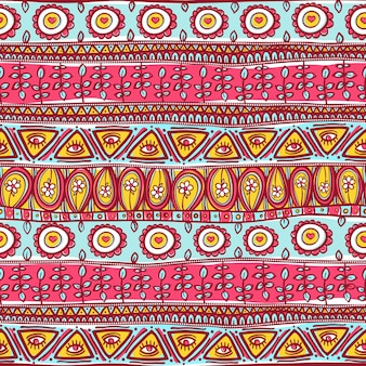 Красивый племенной полосатый бесшовные розово-синий орнамент