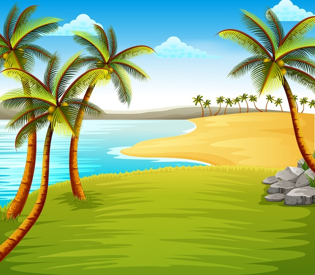 Beautiful tropical beach view with some coconut trees on the coast near the green field