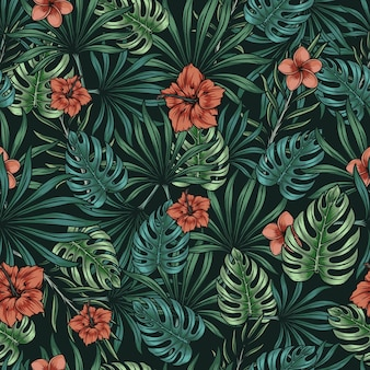 Beautiful tropical floral seamless pattern in vintage style