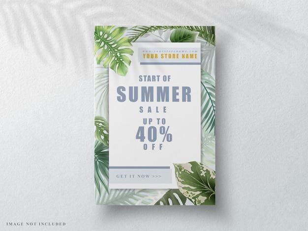 Красивый тропический цветочный летний баннер