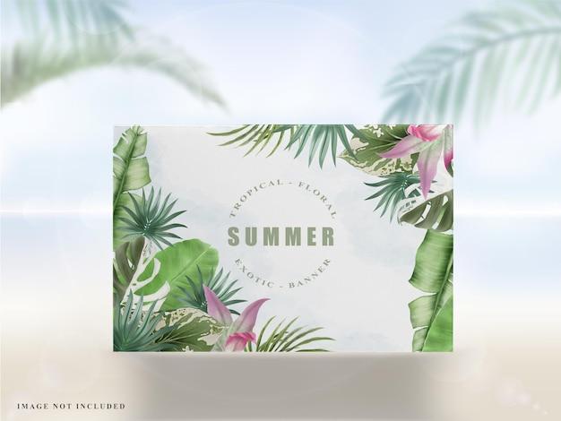 Красивый тропический цветочный летний флаер