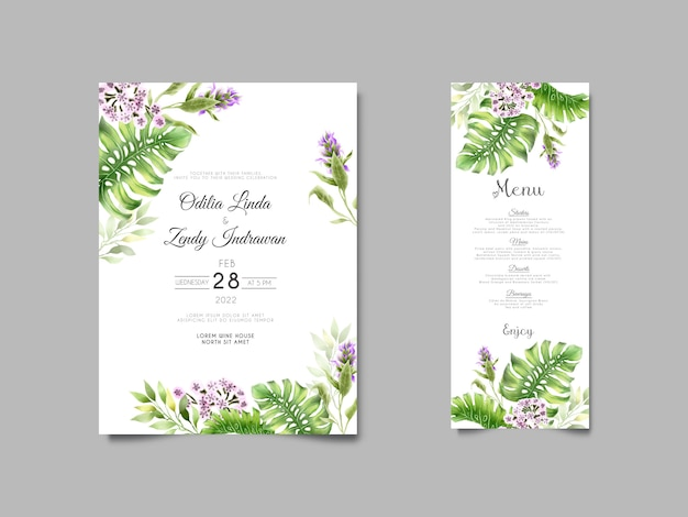 Beautiful tropical floral watercolor wedding invitation cards
