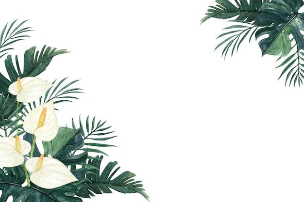 몬스 테라, 야자 잎, 칼라 릴리와 함께 아름다운 열대 꽃