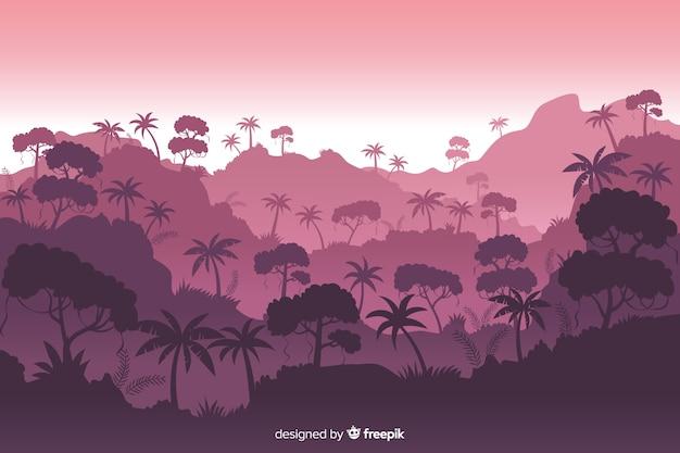 Красивый пейзаж тропического леса с разнообразием деревьев