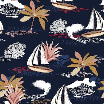 Beautiful tropical island seamless pattern with palm trees, mountain, corals
