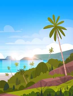 Beautiful tropical landscape summer seaside beach with palm tree exotic resort illustration