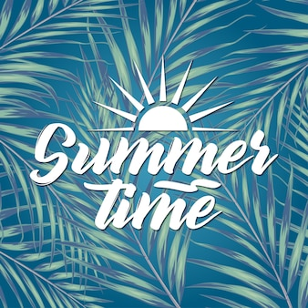 Beautiful tropical leaves with lettering on blur background. summer concept illustration