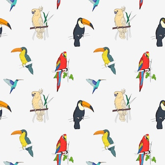Beautiful tropical pattern with different exotic birds sitting on tree branches and flying on white background.