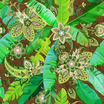 바나나 잎과 녹색 페이즐리가 있는 아름다운 열대 원활한 패턴