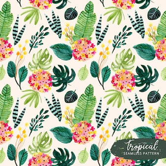 Beautiful tropical summer flower watercolor seamless pattern