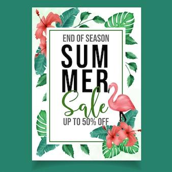 Beautiful tropical watercolor flyer summer sale banner
