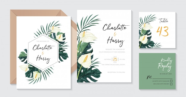Beautiful tropical wedding invitation with watercolor calla lily, monstera and palm leaves