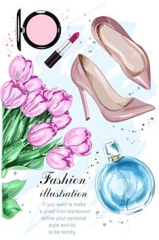 かわいい香水と美しいチューリップの花