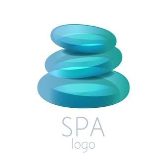 美しいターコイズブルーのスパ石スタックロゴサイン。スパ、ヨガセンター、ウェルネス、ビューティーサロン、薬に適しています。
