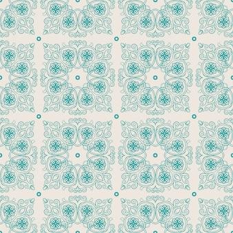 베이지 색 배경에 잎과 꽃과 아름다운 청록색 빈티지 패턴