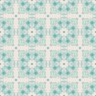 Beautiful turquoise vintage pattern with leaves and flowers on a beige background