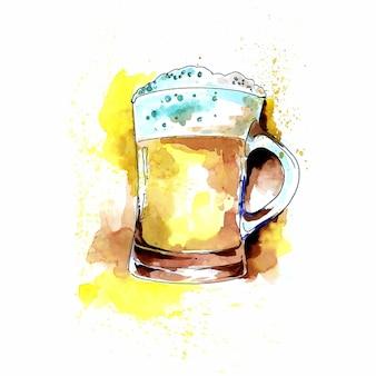 泡の水彩画の背景がたくさんあるビール飲料の美しい2つのマグカップ