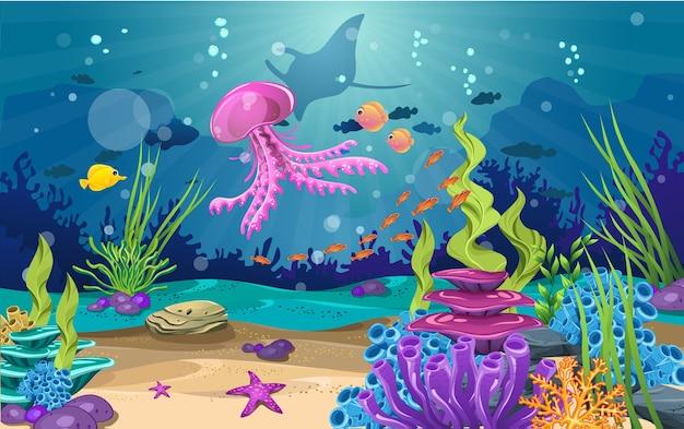 美しい水中。様々な種類の魚、サンゴ礁、藻類が含まれます。