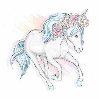 Красивый единорог и цветы иллюстрация