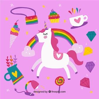 Bella sfondo unicorno con elementi colorati