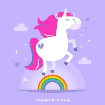 Bella sfondo unicorno con arcobaleno in design piatto