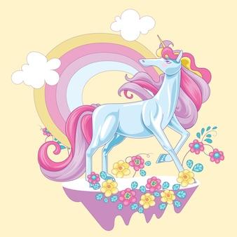 Beautiful unicorn on the cloud with rainbow background