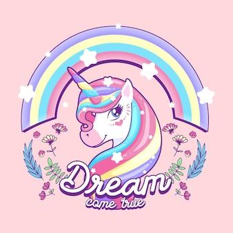 Beautiful unicorn, dream come true vector illustration