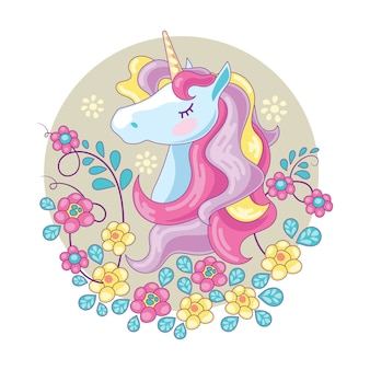 Beautiful unicorn head and cute