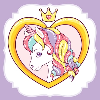 Beautiful unicorn head on heart frame