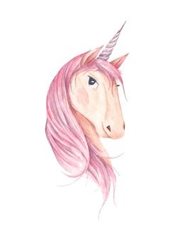 Beautiful unicorn head isolated on white