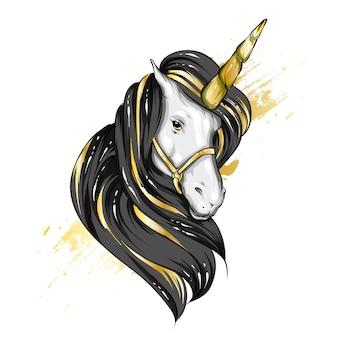 ハイライトと星の美しいユニコーン。おとぎ話と神話のキャラクター。たてがみを持つ馬。はがきデザインのポストカード、ポスター、または布地や衣類へのプリント。ベクター。魔法とおとぎ話。