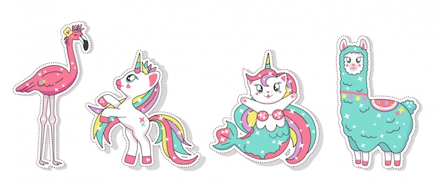 Beautiful unicorn, llama, flamingo and mermaid cat stickers set