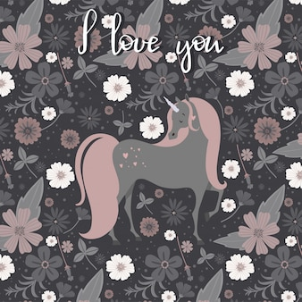 Beautiful unicorn surrounded by flowers. valentines day greeting card.magical unicorn vector poster.