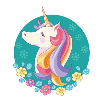 Beautiful unicorn  with handdrawn style