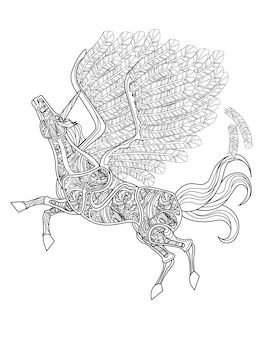 Beautiful unicorn with opened wings flying colorless line drawing mythical horned pegasus