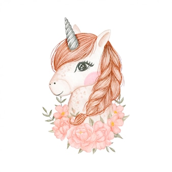 Beautiful unicorns with a bouquet flower watercolor illustration