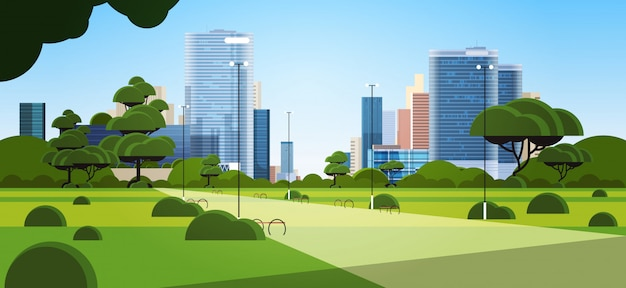 Beautiful urban park in summer day city skyline skyskraper buildings cityscape background horizontal