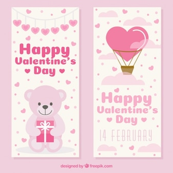Beautiful valentine banners with teddy bear and hot air balloon