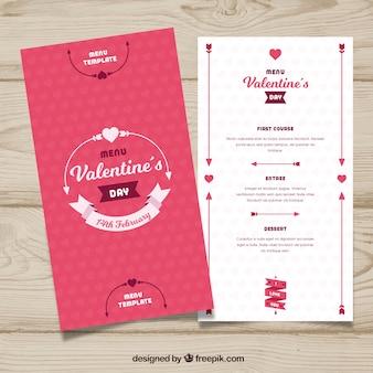 Красивый дизайн меню в стиле валентина