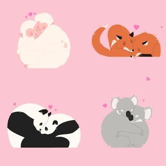 美しいバレンタインの動物のカップル