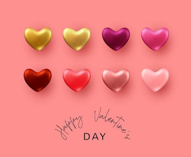 Красивый фон дня святого валентина. набор цветных реалистичных металлических декоративных сердечек