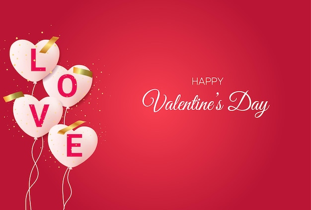 Beautiful valentine's day background with love balloons and text