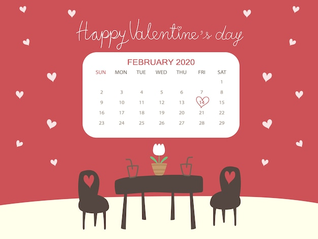Beautiful valentine's day calendar concept in cafe theme with lovers and white heart