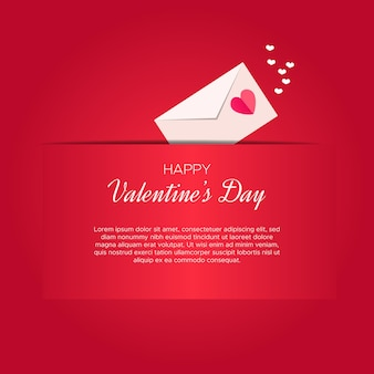 Beautiful valentine's day card template with love letter box
