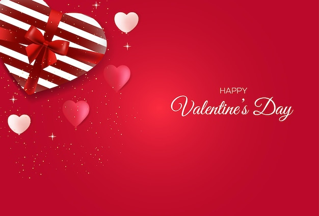 Beautiful valentine's day card template with sweet gifts and love balloons