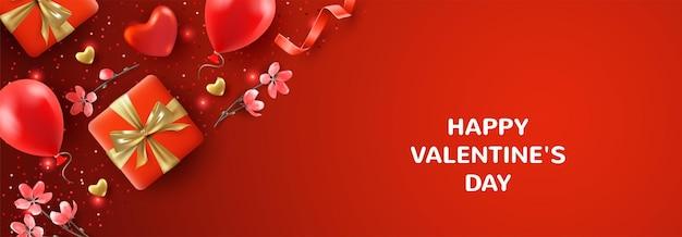 아름다운 발렌타인 데이 카드. 현실적인 발렌타인 특성 및 기호 벡터 일러스트 레이션