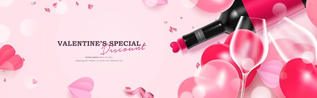 Beautiful valentine's day celebration illustration sale banner with realistic wine bottle and glass