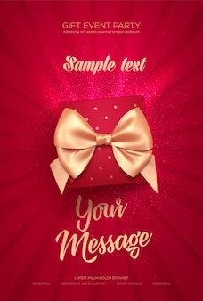 Beautiful valentine's day greeting card with top view of red gift box and golden bow